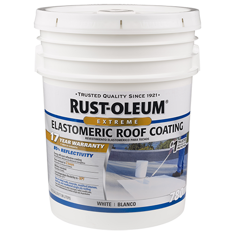 Rust Oleum 17 Year Elastomeric Roof Coating Provides A High Initial Reflectivity Value Of 85 Energy Efficien Roof Coating Elastomeric Roof Coating Rustoleum