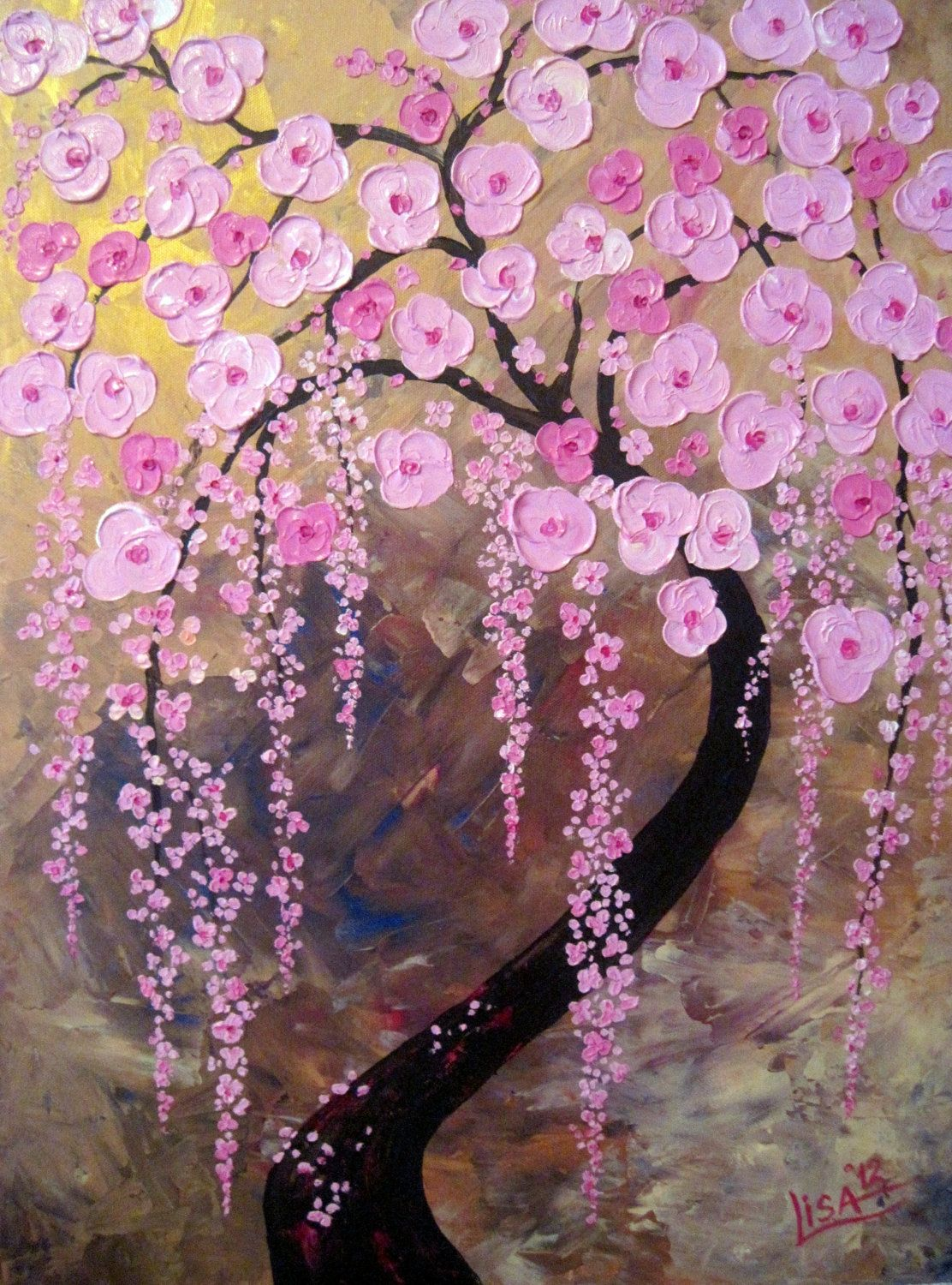 Canvas Print Of Original Oil Painting Tree Life Pink Cherry Blossoms Signed 95 00 Via Etsy
