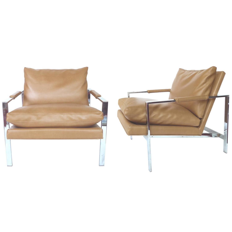 1960s Milo Baughman Chrome Lounge Chairs, A Pair