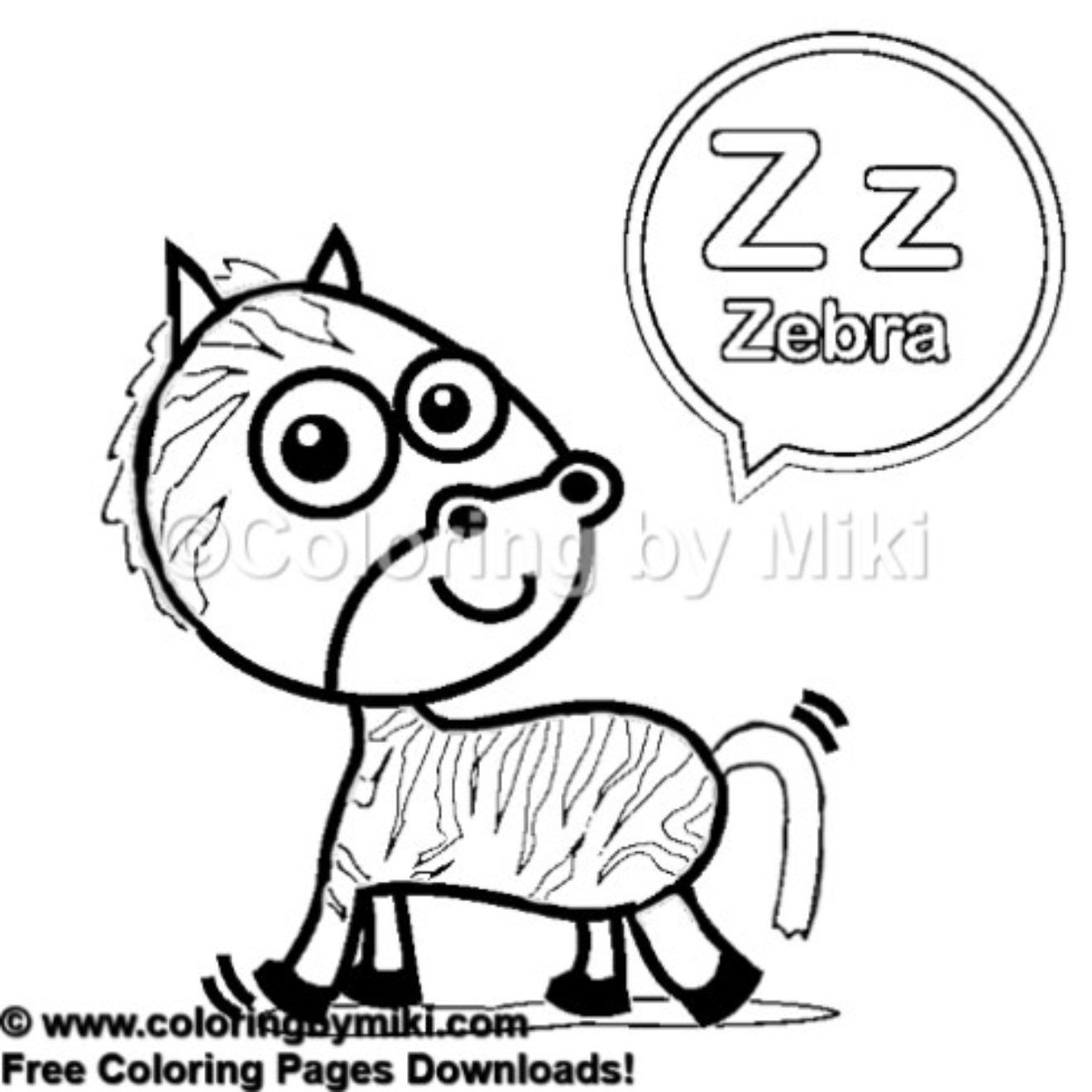Alphabets z for zebra coloring page kidsactivities