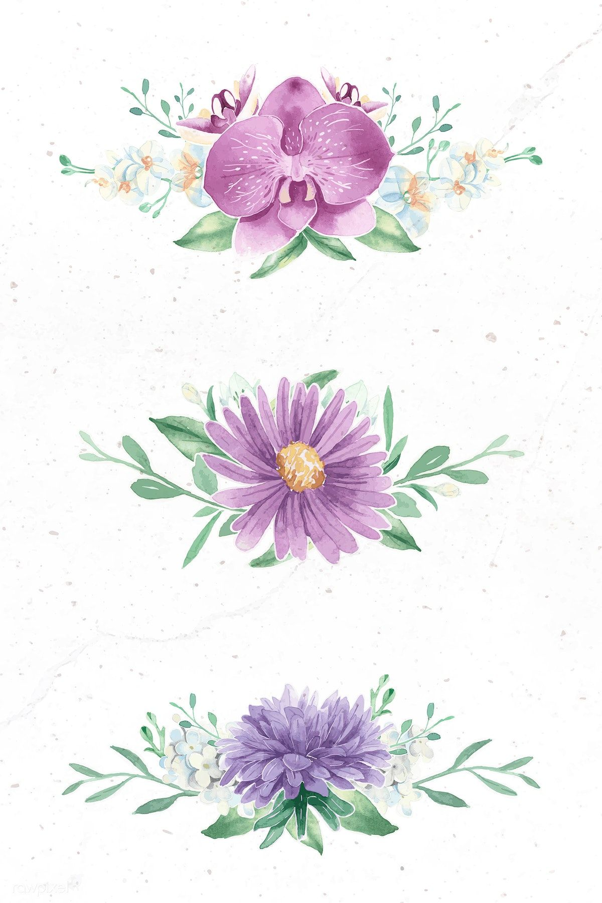 Download Premium Vector Of Purple Flower Elements On White Background In 2020 Floral Watercolor Background Purple Flowers Flower Illustration