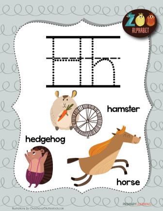 Letter H Animals Printable Poster Primary Learning Animals Starting With A Lettering Autumn Animals