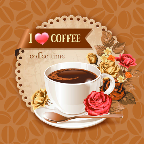 Vector card with coffee and pastry hand drawing icons
