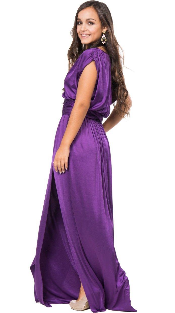 vestido largo griego morado de halston para invitada boda de tarde o ...
