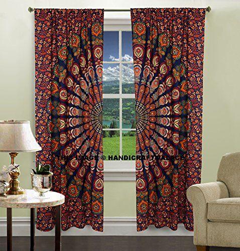 Indian Peacock Mandala Cotton Hippie Tapestry Door Cutain