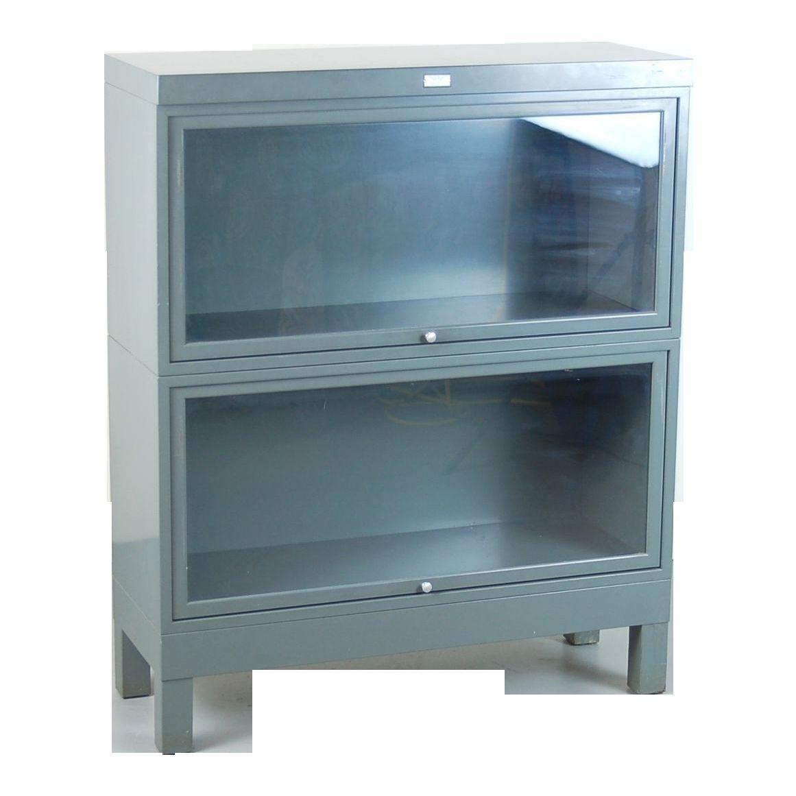 Vintage Metal Cabinet With Glass Doors Bookcase With Glass Doors Vintage Industrial Furniture Retractable Glass Doors