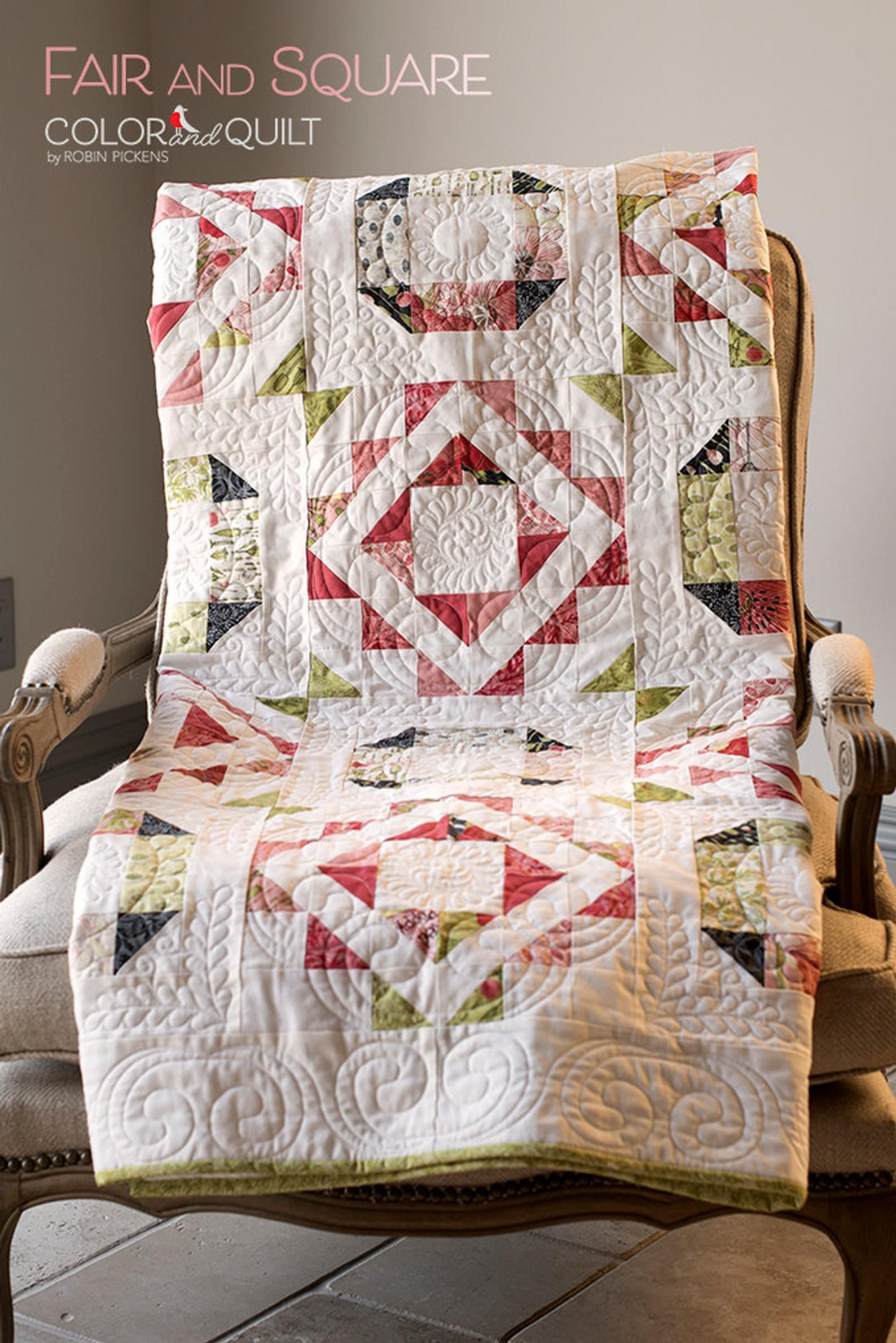 Fair and square digital pdf quilt pattern by robin pickens