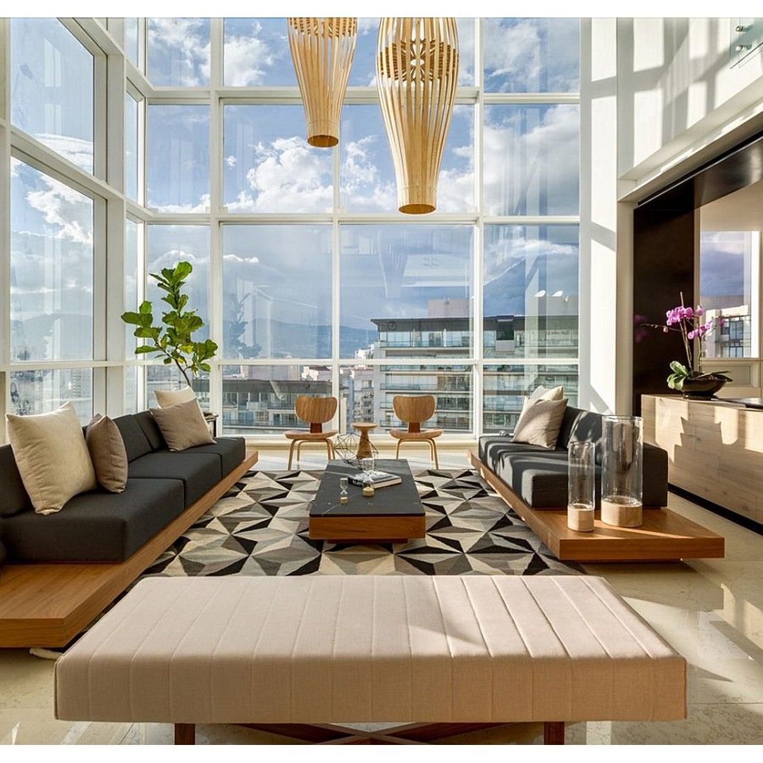 Apartment Living Room With High Ceiling And Glass Wall Make You Feel Almost  Touch The Sky