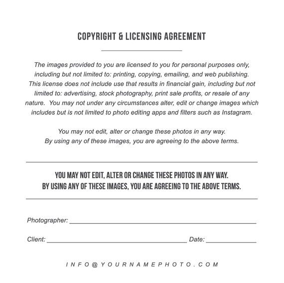 Print Release Templates  Photo Marketing  Copyright Agreement