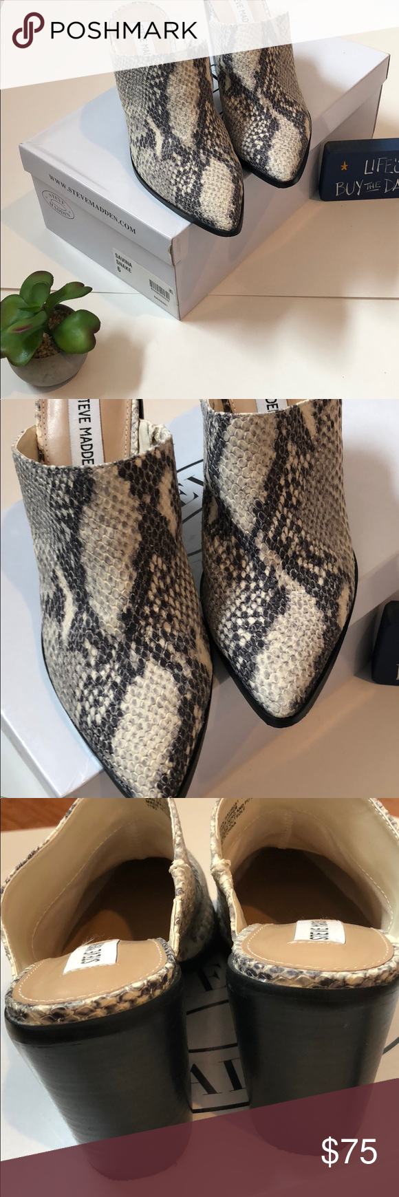 985609aa026 Steve Madden Savina Snake Mules On Trend Gray and white mules. Leather  upper size 6. Goes with everything. Any wear if from trying on in store.  New in Box.