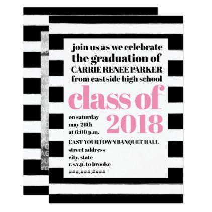 Bold Print Pink Black + White Stripe Graduation Card Custom