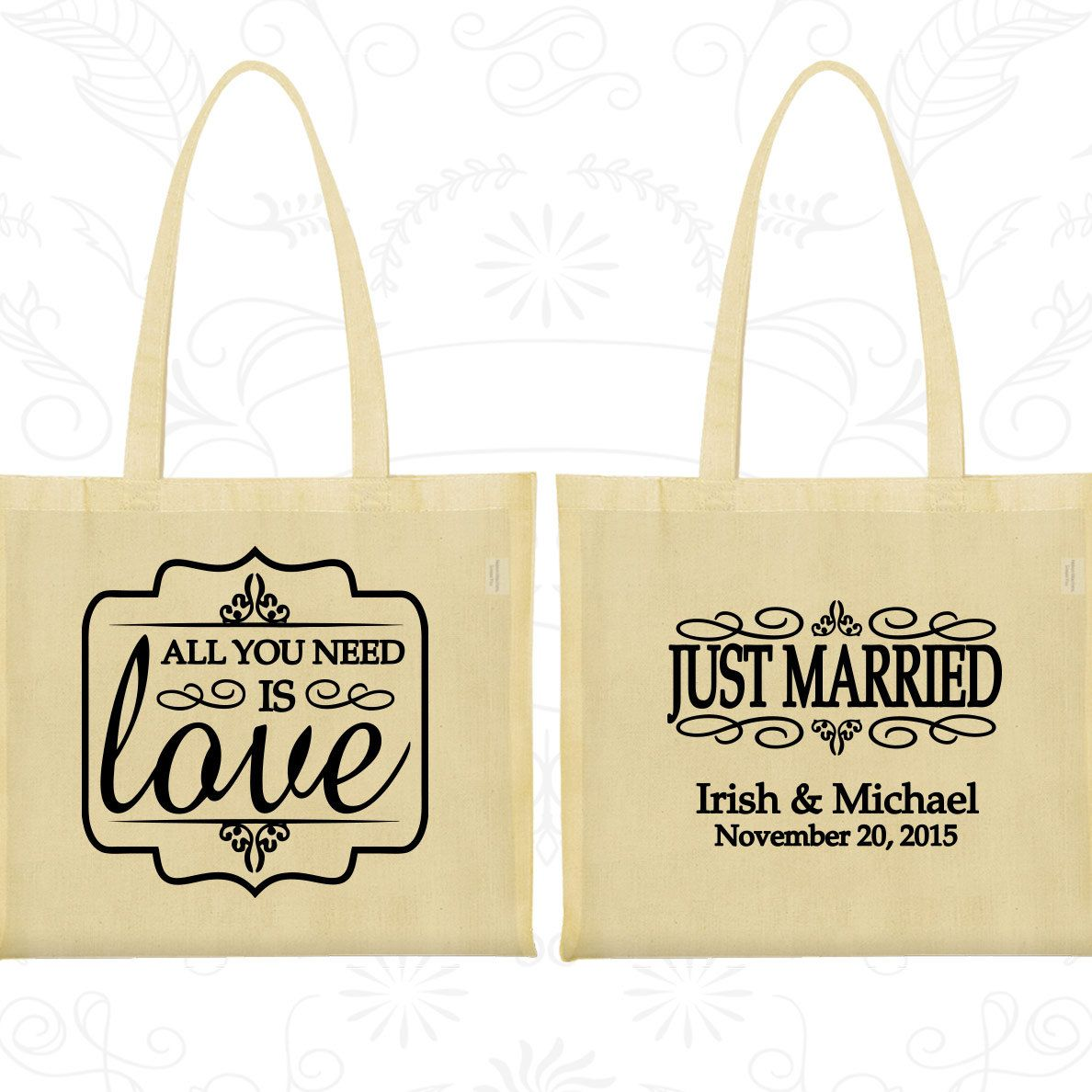 All you need is love Bags, Wedding Welcome Bags, Just Married Bags ...