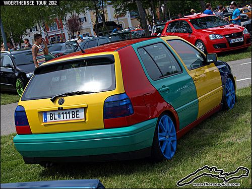 multi colored vw golf mk3 harlequin volkswagen pinterest gti treffen. Black Bedroom Furniture Sets. Home Design Ideas