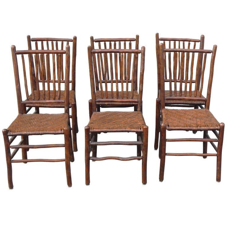 Fantastic Set of Six Signed Old Hickory Chairs | From a unique collection  of antique and modern chairs at http://www.1stdibs.com/furniture/seating/ chairs/ - Fantastic Set Of Six Signed Old Hickory Chairs Old Hickory