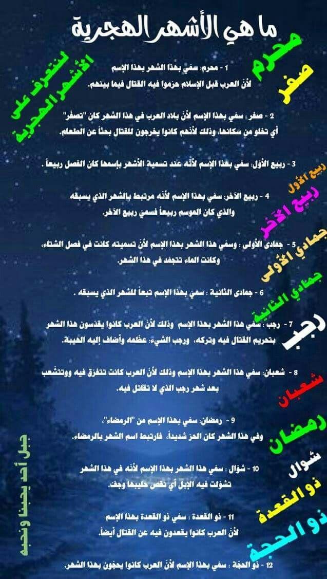 معاني الاشهر الهجريه Some Quotes Islam Quran Islam