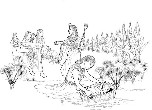 Baby Moses In The Reeds Bible Coloring Pages Bible Coloring