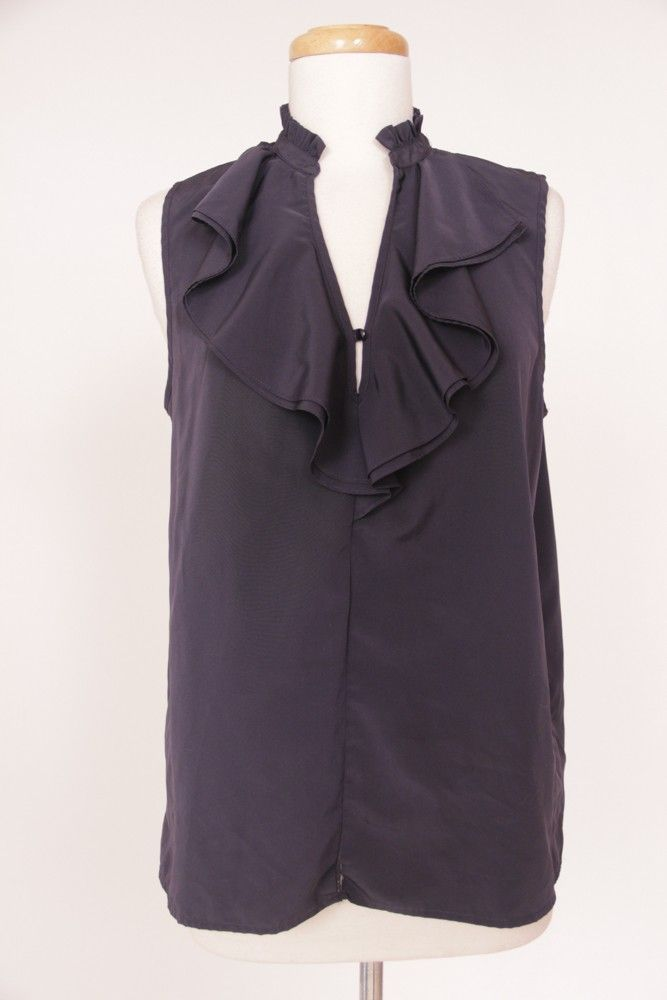 Used Designer Clothing Online | Apt 9 Navy Blue Ruffle Blouse Large New Arrivals Other Vintage