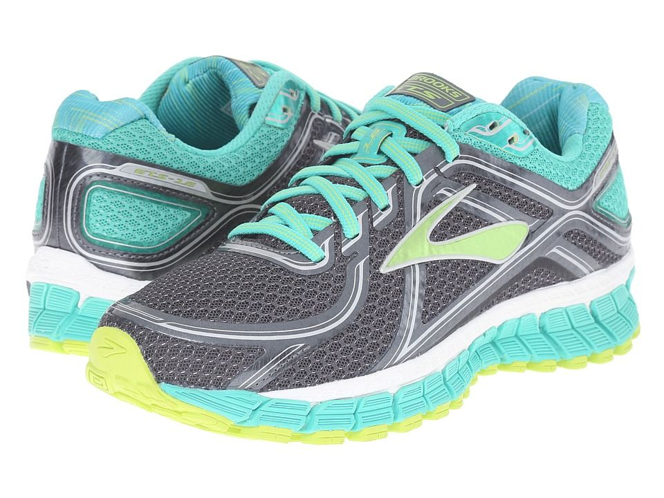 0938381491a BROOKS BROOKS - ADRENALINE GTS 16 (ANTHRACITE AQUA GREEN LIME PUNCH) WOMEN S  RUNNING SHOES.  brooks  shoes