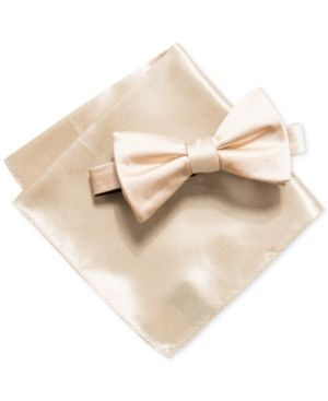 0d5c6a8aa7211 Alfani Men's Satin Solid Bow Tie & Pocket Square Set, Created for Macy's -  Gold