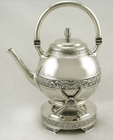Gorham Sterling Silver Egyptian Tea Kettle & Stand Teapot 1887