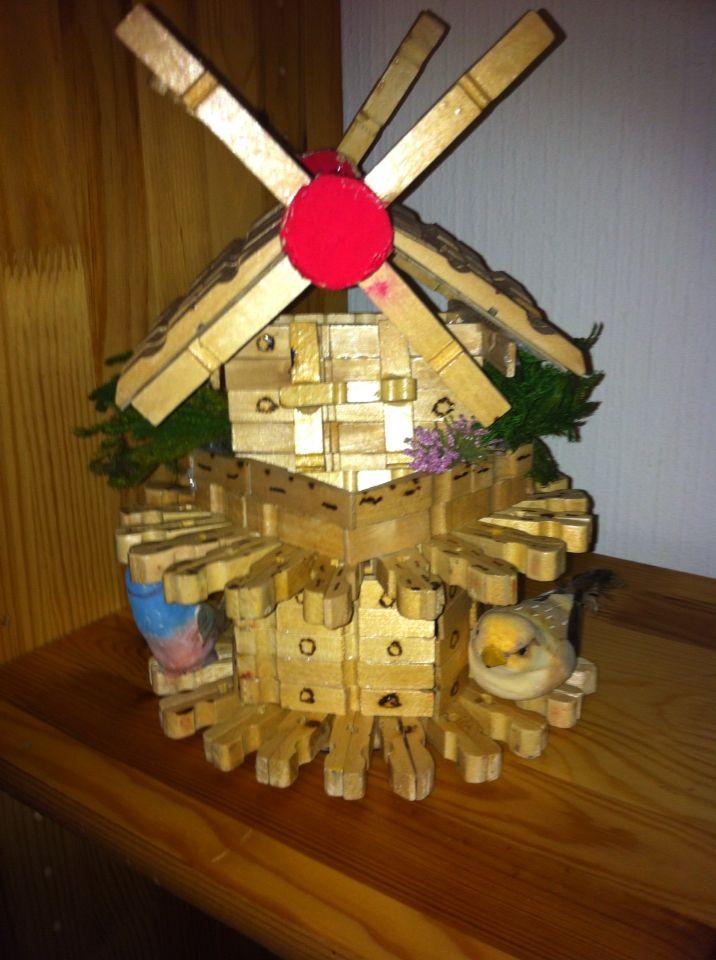 Moulin Avec Epingles A Linges Epingle A Linge Fleurs En Papier Deco Noel