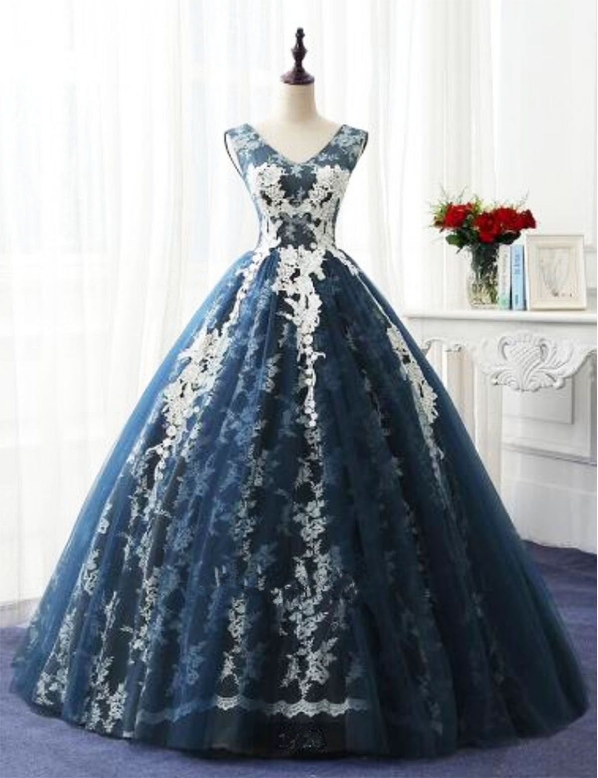 Navy blue tulle v neckling long winter formal prom dress long lace