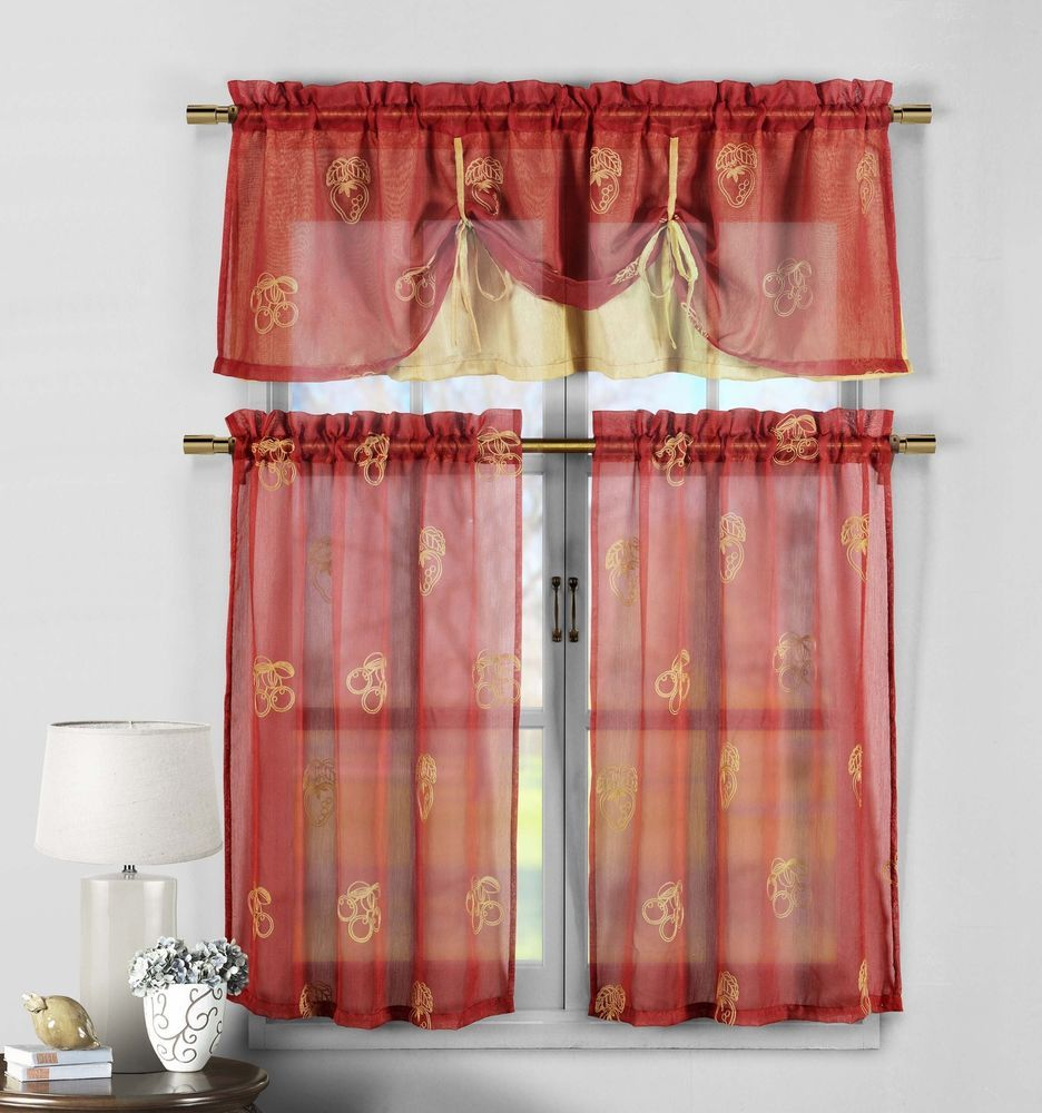 Red And Gold Embroidered Kitchen Window Curtain Drape Tier U0026 Valance Swag  Set #DESIGNERLINENS #