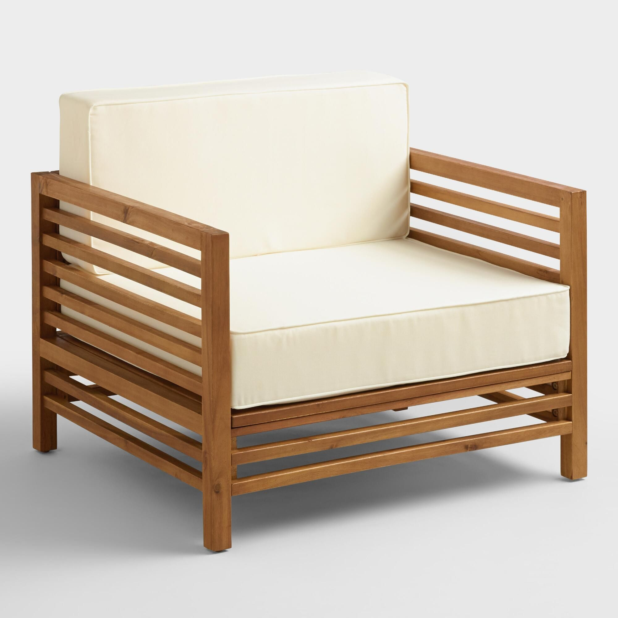 Wood praiano outdoor patio occasional chair natural by world market