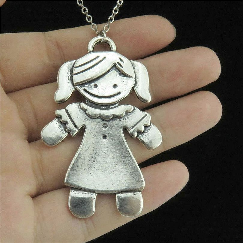 charms happy zoom silver charm middle pendant loading the horseshoe with baby character sterling antique necklace in girl oxidized