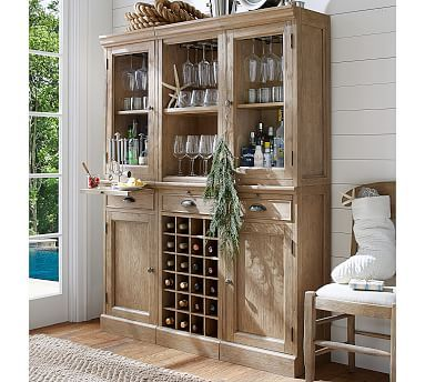 6 Piece Modular Bar Wall Unit 2 Wood Door Cabinet 1 Wine Grid Base Gl Open Hutch Mahogany Stain