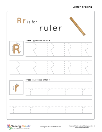 rr is for ruler preschool tracing letter r r worksheet