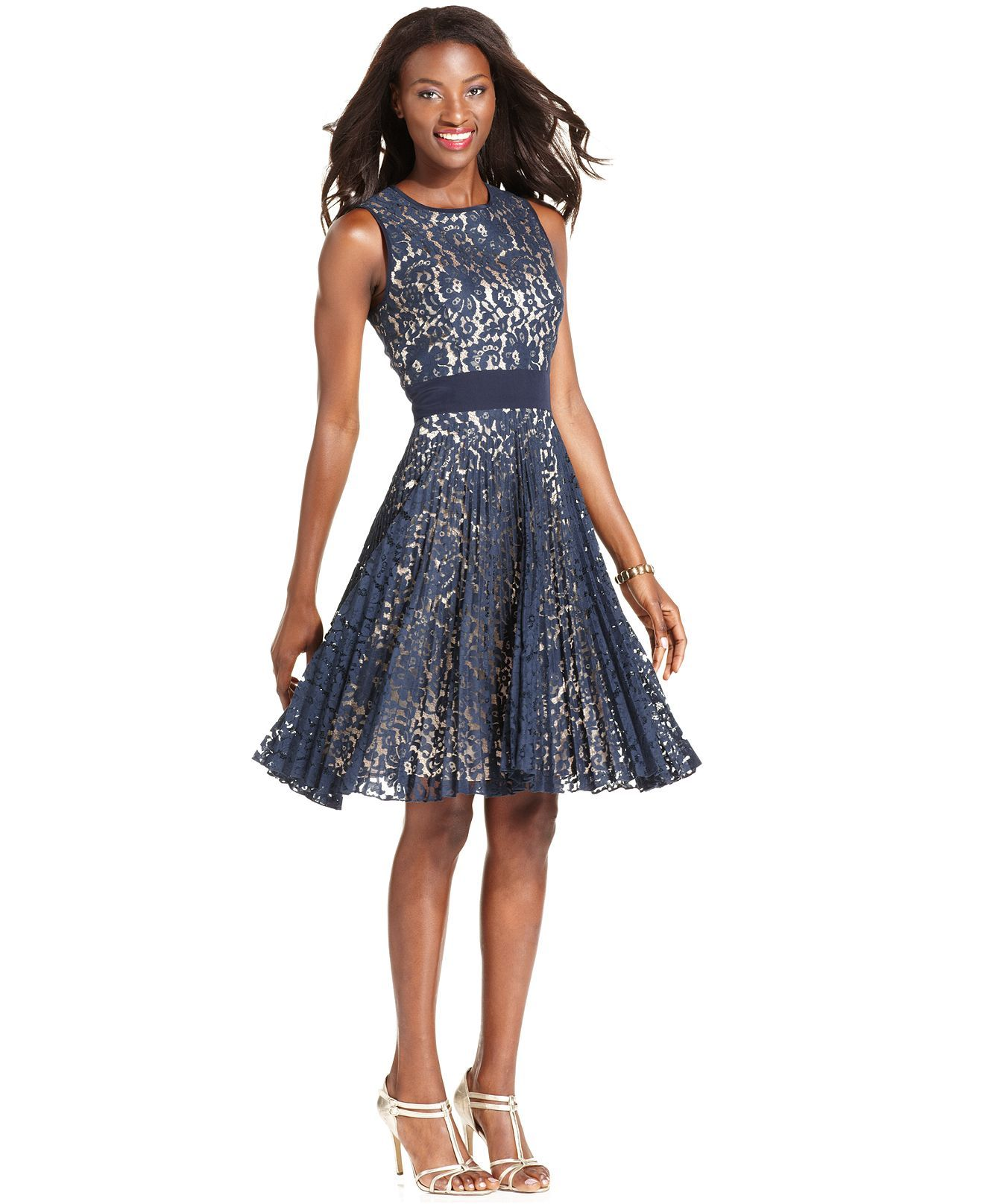 Macys womens dresses wedding  Eliza J Dress Sleeveless Pleated Lace ALine  Womens Dresses
