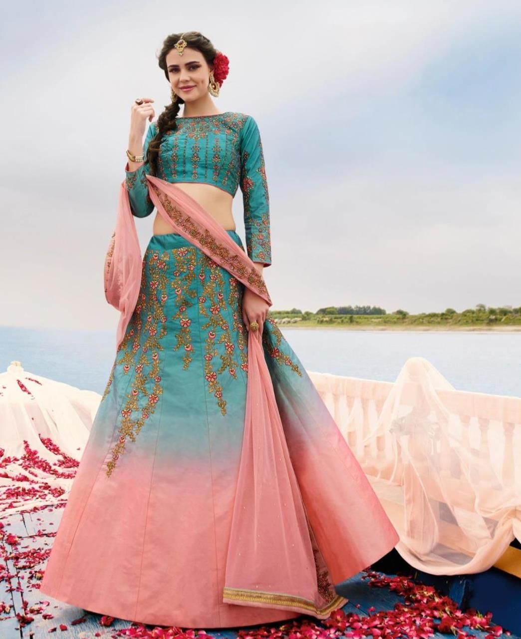 6b019790959e06 Pin by Cecile Rock on Woman's clothing | Lehenga, Silk lehenga, Blue ...