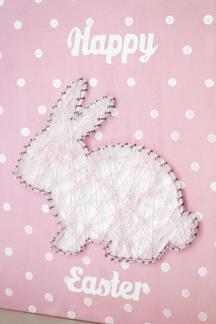 Osterhase fadenbild als deko oder geschenk basteln mit kindern pinterest fadenbilder - Fadenbilder selber machen ...