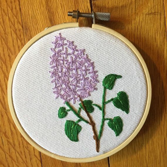 Floral Lilac Embroidery Lilac Artwork Hand by FrontRoomStitches