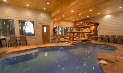 Pigeon Forge Cabins   Majestic Mountain Water Large Group With Private  Pool, Theatre, And