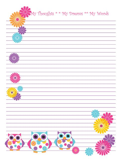 Owl Note Paper - free printable Borders free Pinterest Note