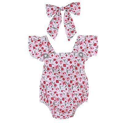 Baby Girl's Ruffle Sleeve Red/Pink Flower Romper & Hairbow Outfit Set