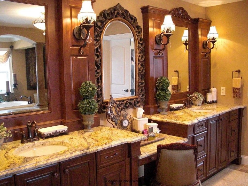 Bathroom Set Ideas With Traditional Double Cabinet With Marble On ...