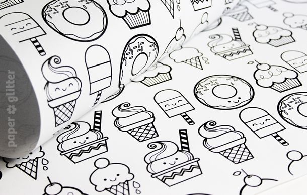 04 printable wrapping paper cute personalized black white coloring black and white. Black Bedroom Furniture Sets. Home Design Ideas