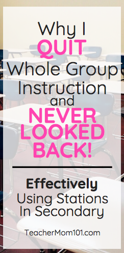 Why I Quit Whole Group Instruction Classroom Instruction
