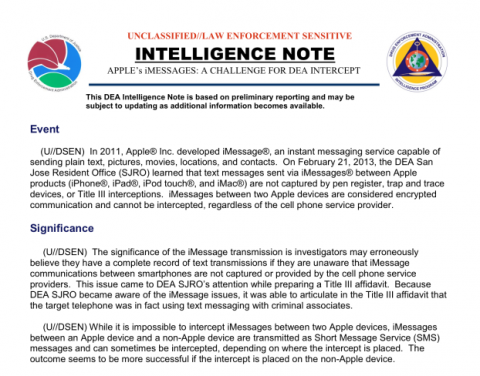 DEA Note about iMessage Encryption