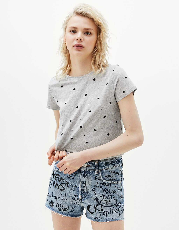 All-over print cotton T-shirt - T-Shirts - Bershka United Kingdom
