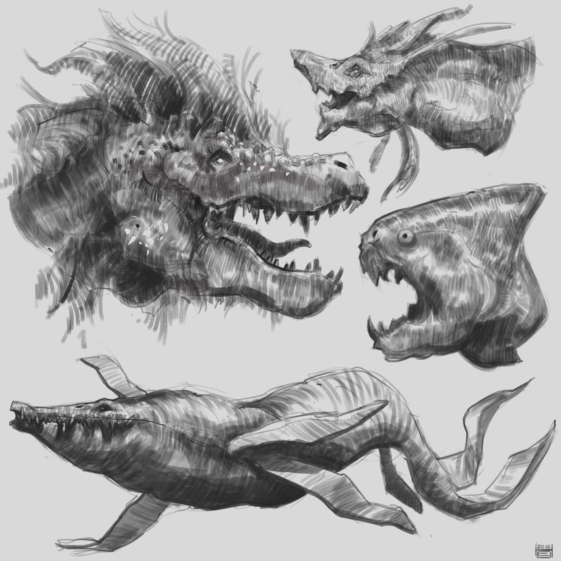 ArtStation - Sketches week 9 Creatures, Hueala Teodor