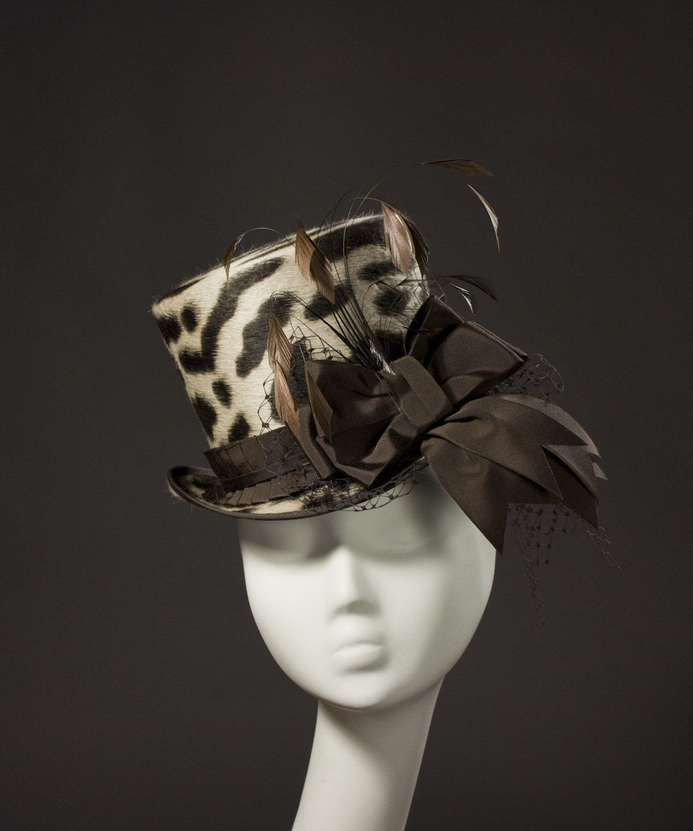 0cf91640f6de Leopard Print 'Wellington' Top Hat- The perfect topper for a tea party in  Wonderland. This ladies hat is made from high quality long-nap fur felt in  brown ...