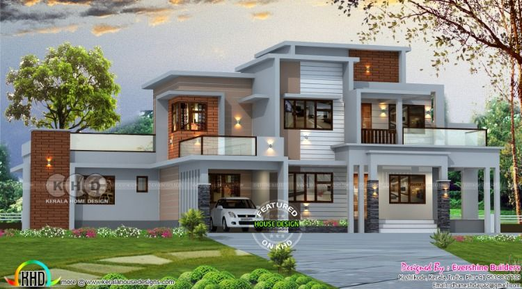 2850 Square Feet 4 Bedroom Box Model Contemporary House Plan Kerala House Design Contemporary House Plans Modern Exterior House Designs