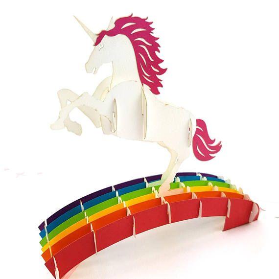 magical flying unicorn 3d pop up card  etsy  unicorn