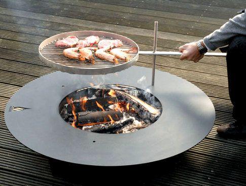 Parfait Fireplate With BBQ Option, Foyer Extérieur Design Avec Grille De Cuisson