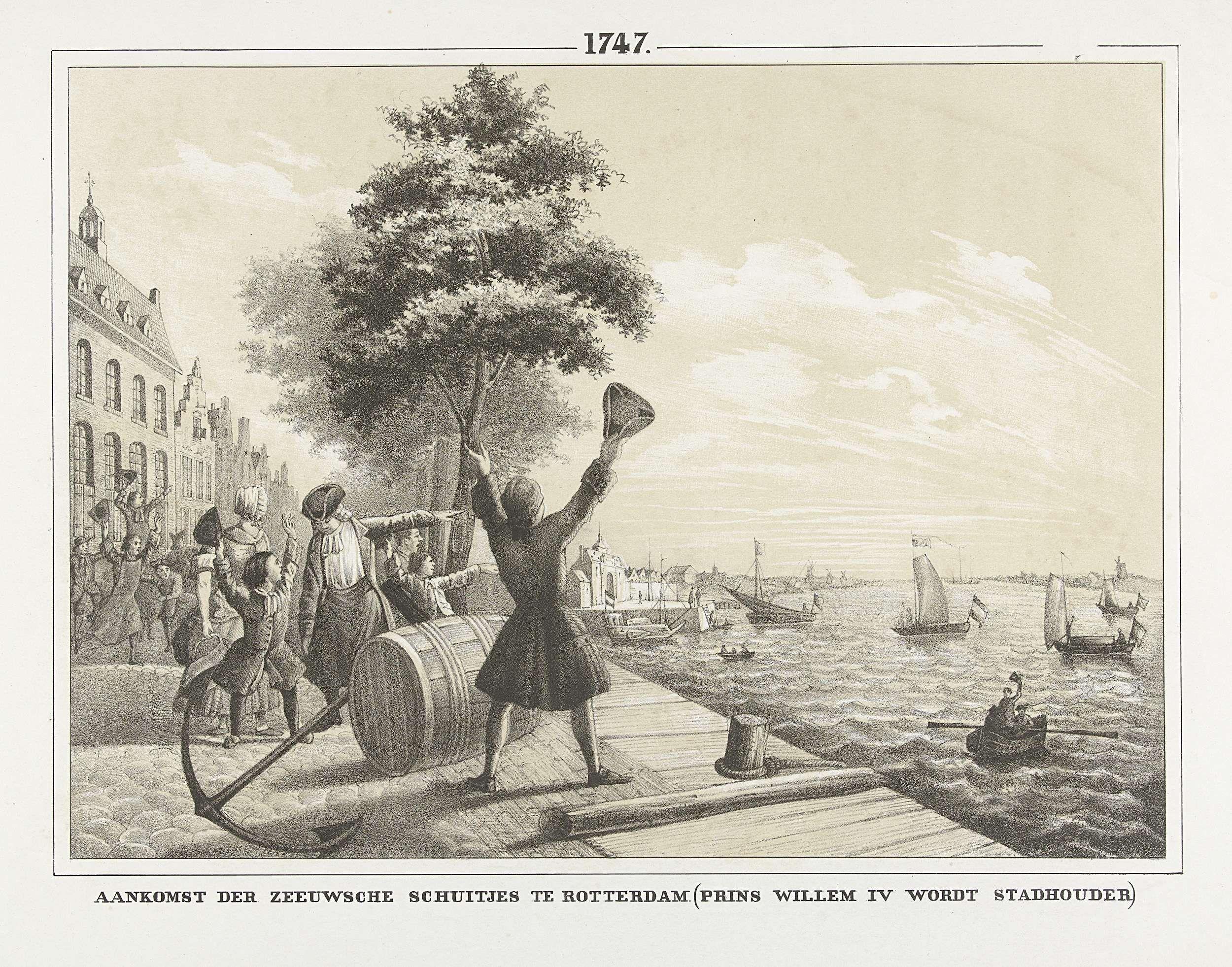 Anonymous | Bekendmaking te Rotterdam van het nieuws van de verheffing van Willem IV tot stadhouder, 1747, Anonymous, 1853 - 1855 | Bekendmaking te Rotterdam van het nieuws van de verheffing van Willem IV tot stadhouder, 1747. Aankomst van boten uit Zeeland wordt op de kade toegejuicht.