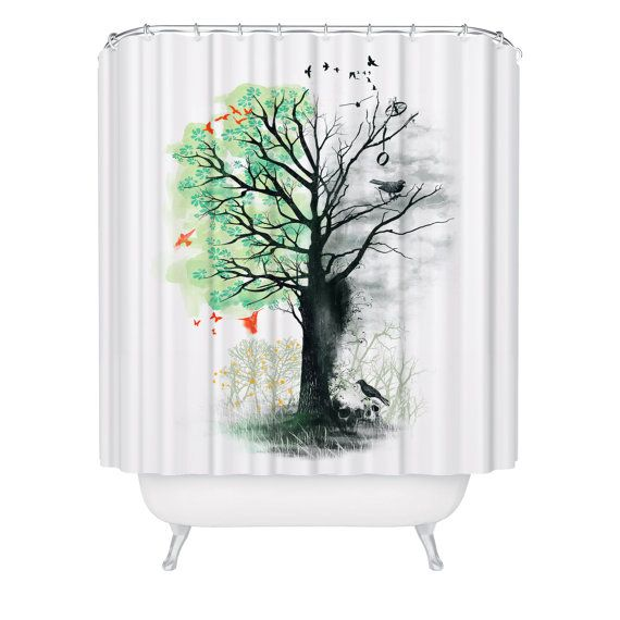 Shower Curtain Artist Trees Beautiful Foliage White by FuzzyInk